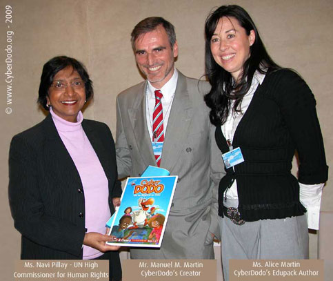 UN HC Navi Pillay with CyberDodo's Alice and Manuel M. Martin