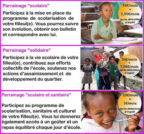 Parrainages scolaire, solidaire ou scolaire et sanitaire, différentes formules sont à votre disposition pour soutenir l'île aux enfants
