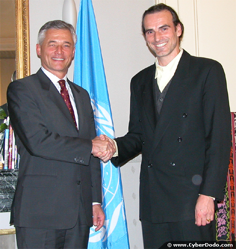 Mr. Sergio Vieira de Mello, UN High Commissioner for Human Rights, Manuel M. Martin, Creator of CyberDodo