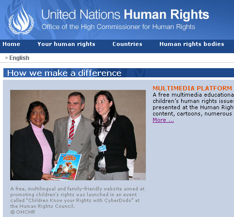 CyberDodo on the site of the UN High Commissioner for Human Rights